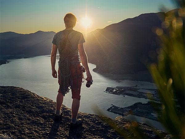Hiker looking over bay